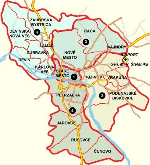 Map of the capital Bratislava